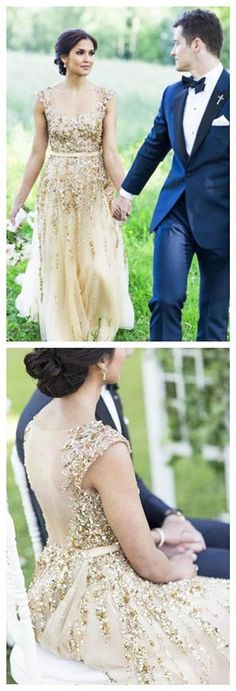 Illusion Neck Beading Long Gold Wedding Dress with Sheer Back Long Prom Classy Prom Dresses, Prom Party Dresses, Sexy Dresses, Evening Dresses, Fashion Dresses, Formal Dresses, Wedding Dresses, Sexy Party Dress, Gold Wedding