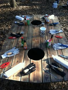 Handmade Shuckin Table Built In Paper Towel Dispenser And Atop Can Liner Holders