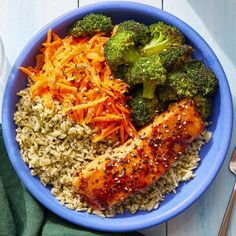 Recipe: Glazed Salmon & Cilantro Rice Bowls with Marinated Carrots & Sesame Broccoli - Blue Apron Cilantro Rice, Sambal Oelek, Sweet Carrot, Glazed Salmon, New Cooking, Lean Protein, Rice Bowls, Mediterranean Recipes, The Fresh