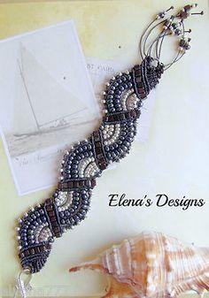Micro Macrame Beaded Serpentine Bracelet, Fans Bracelet, Bohemian Jewelry , USA