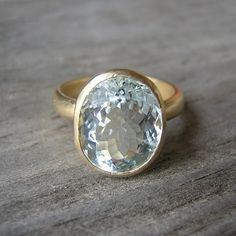 14k Yellow Gold  Rock Fetish Ring With Aquamarine by onegarnetgirl