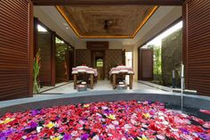 A relaxing bath before massage at a private spa at Kaba Kaba Estate in Bali. http://www.theluxurylisting.com/kaba-kaba-estate-bali/