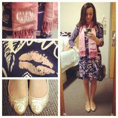 #OOTD (Taken with instagram) Happy Valentine's Day! Dress, Lilly Scarf, Marley Lilly Shoes, Jack Rogers