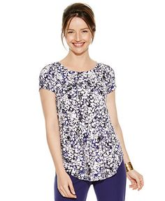 Alfani Short-Sleeve Printed Top - Tops - Women - Macy's