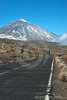 Road to Peak of Teide Volcano. Highest mountain in Spain located on Tenerife Canary Islands