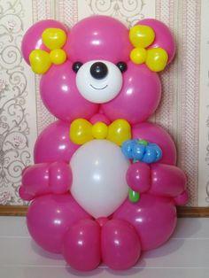 Pink bear with flower balloon Розовый мишка с цветочком из шаров