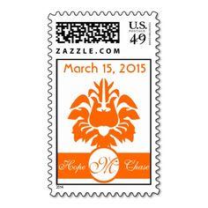 Coral Orange Damask Save the Date Wedding Stamp