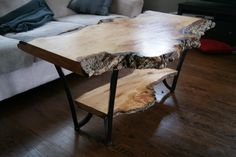 Natural Edge Willow Table | Live Edge Willow Coffee Table Slab Wood | Industrial…