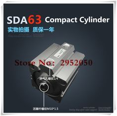 SDA63*60-S Free shipping 63mm Bore 60mm Stroke Compact Air Cylinders SDA63X60-S Dual Action Air Pneumatic Cylinder #Affiliate