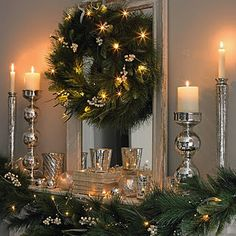 50 Trendy and Beautiful DIY Christmas Lights Decoration Ideas in 2019 Christmas Fireplace, Christmas Mantels, Christmas Wreaths, Fireplace Mantle, Silver Christmas, Noel Christmas, Lush Christmas, Country Christmas, Diy Christmas Light Decorations
