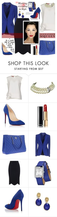 """Classic in blue💙"" by ela79 ❤ liked on Polyvore featuring Carolina Herrera, Christian Louboutin, Chanel, Alexander McQueen, Hermès and Marco Bicego"