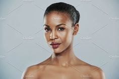 Centered view of beautiful grinning African bare shouldered female with short hair over gray background Gray Background, Short Hair Styles, African, Female, Woman, Shoulder, Grey, Cute, Web Design