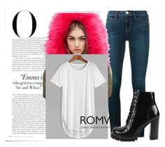 """""""ROMWE WHITE T-SHIRT !"""" by lolalon ❤ liked on Polyvore featuring Frame, Missguided, Jeffrey Campbell and Vanity Fair"""