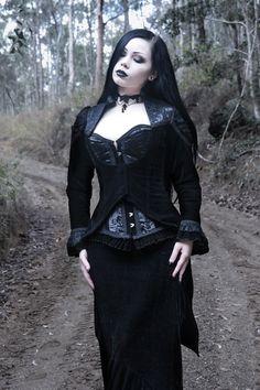Vampiria Black Velvet Swallow Tail Jacket by Burleska