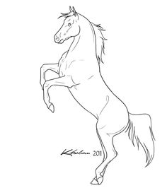 Rearing Horse Lineart by Kholran