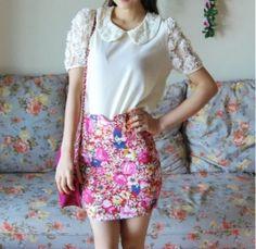 Zip Flower Skinny Skirt Pink Skinny, Zip, Flower, Beautiful, Fashion, Moda, Fashion Styles, Thin Skinny, Fashion Illustrations