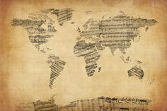 Map Of The World Map From Old Sheet Music Digital Art by Michael Tompsett
