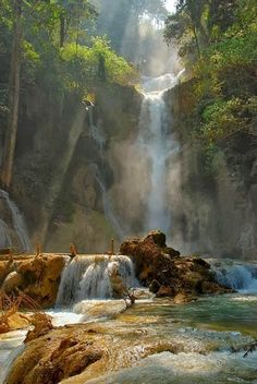 Tat Kuang Si Waterfall near Louan Phabang, Laos. Tat Kuang Si is a three tier waterfall about 29 kilometres south of Luang Prabang. These waterfalls are a favourite side trip for tourists in Luang Prabang. Photo: federico on TrekEarth All Nature, Amazing Nature, Beautiful Waterfalls, Beautiful Landscapes, Oh The Places You'll Go, Places To Visit, Beautiful World, Beautiful Places, Amazing Places