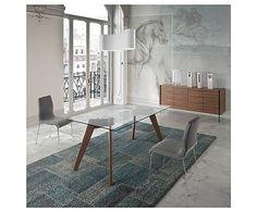 Mesa de comedor de cristal templado y madera Nuria
