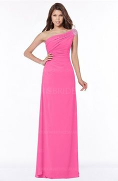 Rose Pink Glamorous A-line Short Sleeve Zip up Chiffon Floor Length Bridesmaid Dresses