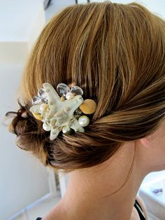 Seashell and starfish comb fascinator for beach by summerbvt, $25.00