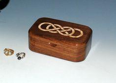 Maple Inlay Double Infinity Walnut Handmade Wooden by BurlWoodBox