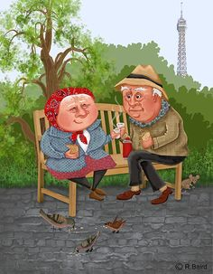 let's go to the park, drink coffee, and feed the birds Illustration by Robert A Baird Coffee Illustration, Bird Illustration, I Love Coffee, Best Coffee, Coffee Break, Vieux Couples, Grow Old With Me, Growing Old Together, Art Of Love