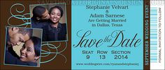 Large ticket save the date design with two photographs for a wedding