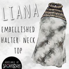 Embellished halter neck top!!