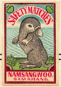 Holy Platypus Batman!  matchbox label from India circa 1930                                                                                                                                                      More