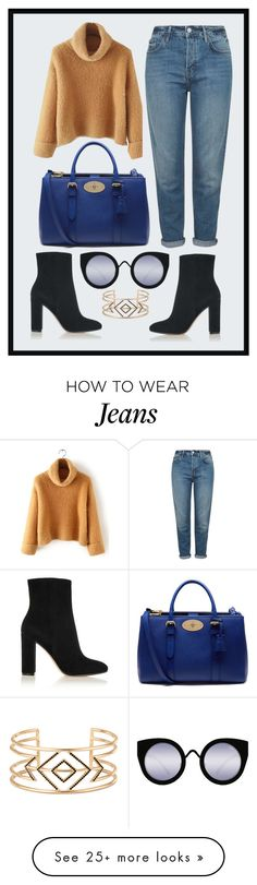 """Cropped Jeans"" by pandasa on Polyvore featuring Topshop, Mulberry, Gianvito Rossi, Quay, Stella & Dot, women's clothing, women's fashion, women, female and woman"