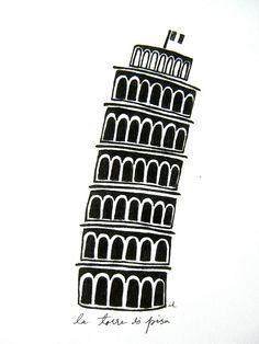 Leaning Tower of Pisa Original Print