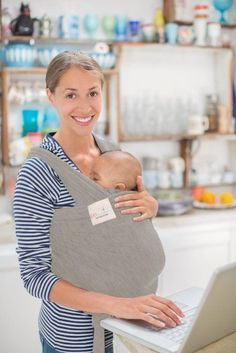 Baby Sling Wrap Carrier By ERT (Grey) - Baby Hat Included Brand New #ERTnewborn