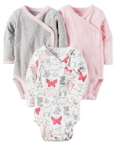 Carter's Baby Girls' Side Snap Bodysuits Preemie Cotton Thee pack of bodysuits Assorted prints and patterns Surplice neckline Side snap design Fashion Kids, Little Girl Fashion, Toddler Outfits, Kids Outfits, One Piece Clothing, Pieces Clothing, Kimono Pattern, Carters Baby Girl, Cute Baby Clothes