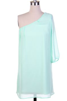 $32.50 One shoulder mint color dress.  Don't forget to check out our facebook giveaway!!!!  http://www.facebook.com/EsCloset