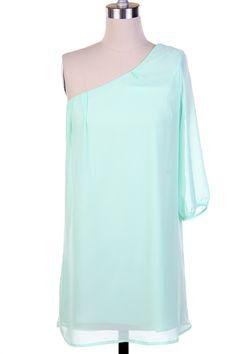 $32.50 One shoulder mint color dress.  www.facebook.com/...