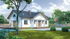 Projekt domu parterowego Chmielów o pow. 94,74 m2 z dachem dwuspadowym, z tarasem, sprawdź! Home Fashion, Cabin, Mansions, Architecture, House Styles, Home Decor, Projects, Arquitetura, Decoration Home
