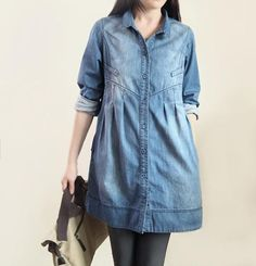 Cowboy warmth/ Leisure single breasted shirt/ Long Lapel by MaLieb Denim Shirt Dress, Tunic Shirt, Denim Tunic, Comfy Dresses, Casual Dresses, Fashion Dresses, Dress Shirts For Women, Clothes For Women, Women Tunic