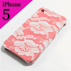 iPhone Case 5  White Lace over Pink iPhone 5 Case by VanityCases, $15.00