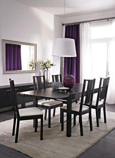 Pretty purple accents and BJURSTA/ BÖRJE dinning set.