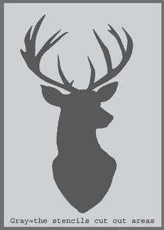 Stag Head Silhouette Stencil deer head decor by IdealStencils Elephant Stencil, Deer Stencil, Large Wall Stencil, Stencil Painting, Fabric Painting, Stenciling, Deer Head Decor, Large Alphabet Stencils, Ski Decor