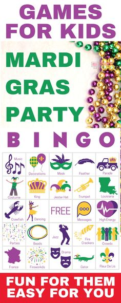 Mardi Gras Party - Printable games for childrenCarnival party games perfect for any group! Get 50 printable playing cards now - a perfect holiday theme for your carnival party for kids or the carnival party Printable Playing Cards, Printable Games For Kids, Bingo Cards, Party Printables, Game Cards, Mardi Gras Party, Mardi Gras Activities, Mardi Grad, Carnival Crafts