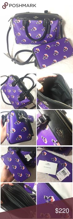 """Coach Brimble Rose Boston handbag+Wallet $179 onⓂ️ Price is for both⚠Selling TOGETHER⚠ Bag: Inside zip, cell phone&multifunction pockets Zip-top closure, fabric lining Handles with 4 1/2"""" drop Longer strap with 22"""" for shoulder or crossbody wear 9""""L x 7.5"""" H x 5.5"""" W MSRP: $295+tax  Wallet: 8 credit card slots 2 full-length slip pockets for bills 7.5""""Lx 4""""H x .75""""D MSRP:$195  ✅Price firm UNLESS bundled      List with the LOWEST price ❌NO Trade ❌Lowball Offer Will be IGNORED&BLOCKED ⚡️Serious…"""