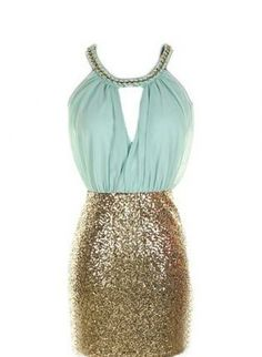 mint & gold sequin dress #homecoming #fallfashion #sequins