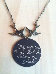 "Swooping Birds Engraved Necklace ""If you're a bird I'm a bird"" - The Notebook movie quote -for playful lovebirds <3"