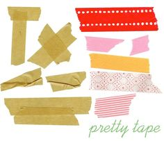 Digital tape seems to be the biggest craze!  On the left is one of my favorite masking tapes called naked tape elements from designer digital (costs 3.50).  the 2nd set is my latest absolute favorite tape download, available for FREE from pugly pixel!