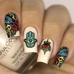 Spirits of Hamsa Stamping Plate For Stamped Nail Art Design Nail Design Kit, Nail Art Designs, Floral Designs, Sunset Nails, Cat Template, Nail Art Stamping Plates, Image Plate, Hamsa Hand, Lace Flowers