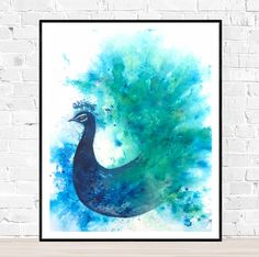 Original peacock painting with brusho ink and watercolor