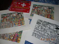 linogravure aquarellée aux crayons à partir d'un tableau de Gimenez
