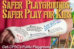 Get CPSC's free Public Playground Safety Checklist to ensure a safer play area for kids. Playground Safety, Safety Checklist, Play Equipment, Play 1, Playgrounds, Kids Playing, The Neighbourhood, Surface, Education